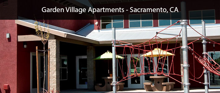This is a photo of the Garden Villiage Apartments in Sacramento, CA