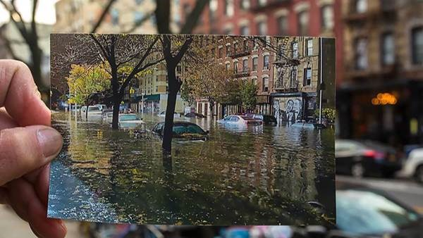 Before and after of a street after Hurricane Sandy