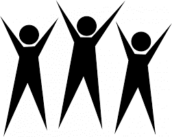 3 person figures with arms raised