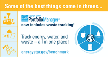 Some of the best things come in threes... Energy Star Portfolio Manager now includes waste tracking! Track energy, water, and waste - all in one place! energystar.gov/benchmark