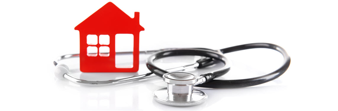 Image of a house next to a stethoscope