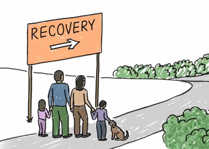 Family next to a recovery sign pointing torward a path
