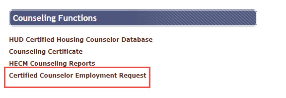 On the Counseling Functions page, select Certified Counselor Employment Request