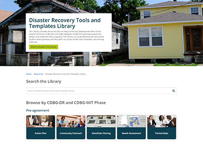 Screenshot of Disaster Recovery Tools and Template Library landing page