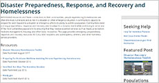 Disaster Preparedness, Response, and Recovery and Homelessness