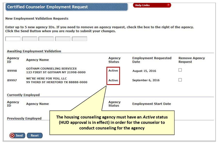 The Certified Counselor Employment Request page is refreshed and the Awaiting Employment Validation section of the page displays the pending employment validation record.