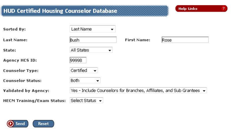 HUD Certified Housing Counselor Database page with search criteria for a certified counselor