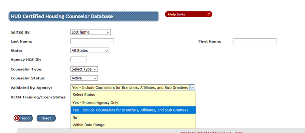 select Yes - Include Counselors for Branches, Affiliates and subgrantees