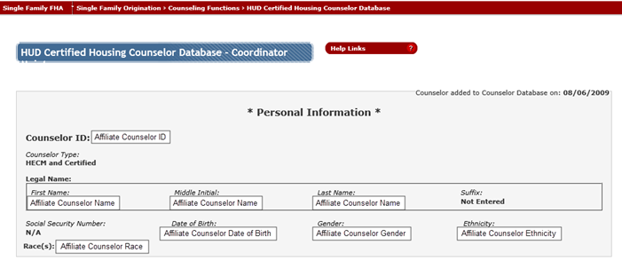 Click on the counselor's name and validate the employment of each name that appears tied to the affiliate agency