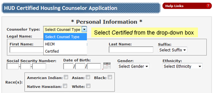 Change the Counselor Type field to Certified in the dropdown menu.