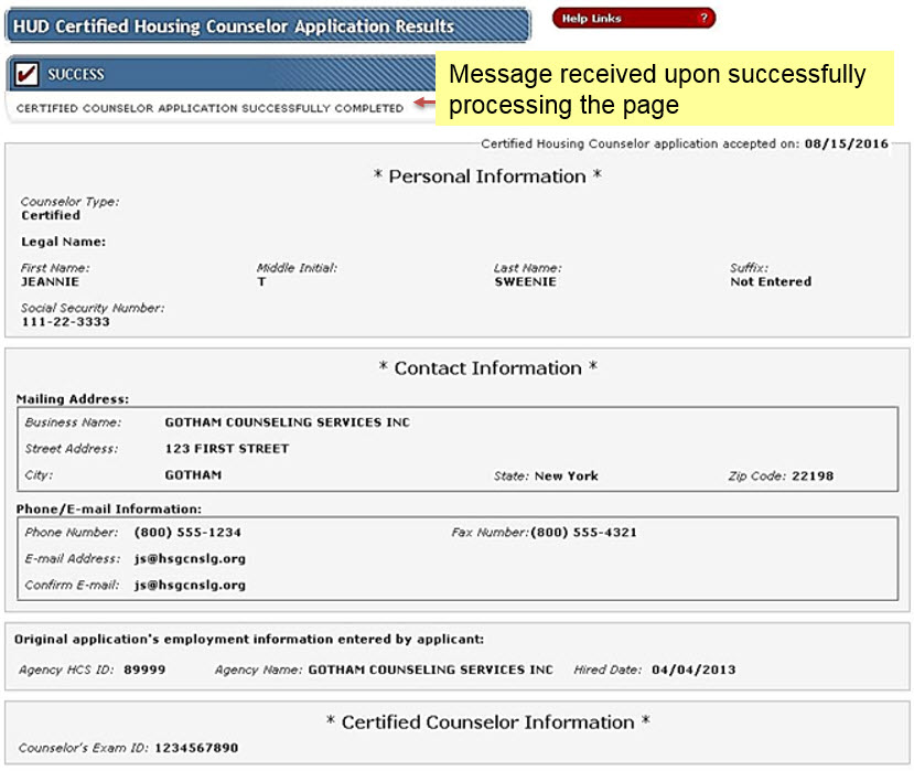 When the application is successfully processed, a screen appears that shows the message 'Success: CERTIFIED COUNSELOR APPLICATION SUCCESSFULLY COMPLETED'.