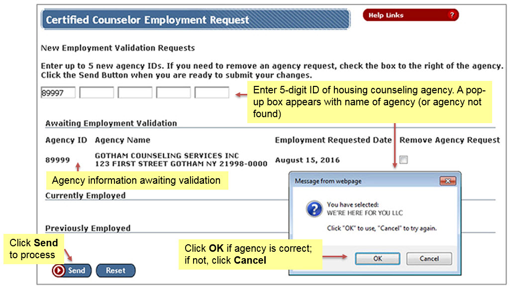 The Certified Counselor Employment Request Page allows you to enter up to 5 new agency IDs in the New Employment Validation Requests field. Once you enter the ID(s), a pop up message appears to notify you which agency you have selected. Click OK if the agency is correct; if not, click Cancel.