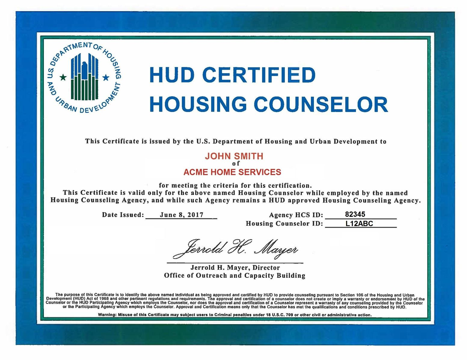 HUD Certified Housing Counselor Certificate
