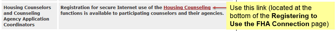 The Housing Counseling link is located at the bottom of the page.
