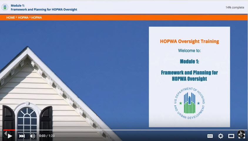 HOPWA Oversights Training How to use the Modules Video