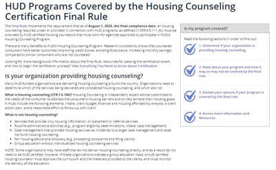 Housing Counseling HUD Programs Covered page