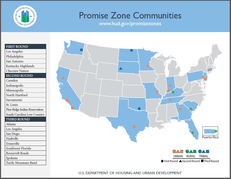 Map showing all of the Promise Zone Communities