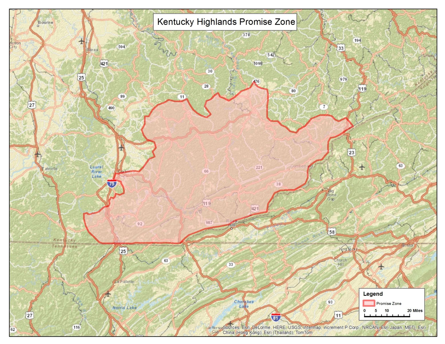 Kentucky Highlands Promise Zone Map