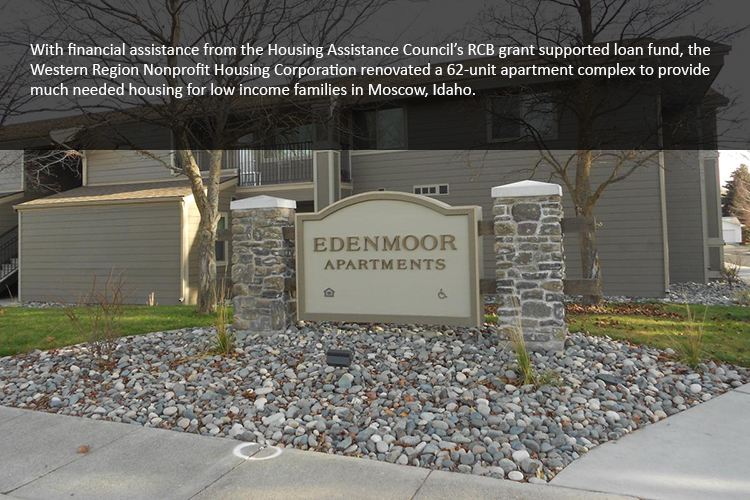 With financial assistance from the Housing Assistance Council's RCB grant supported loan fund, the Western Region Nonprofit Housing Corporation renovated a 62-unit apartment complex to provide much needed housing for low income families in Moscow, Idaho.
