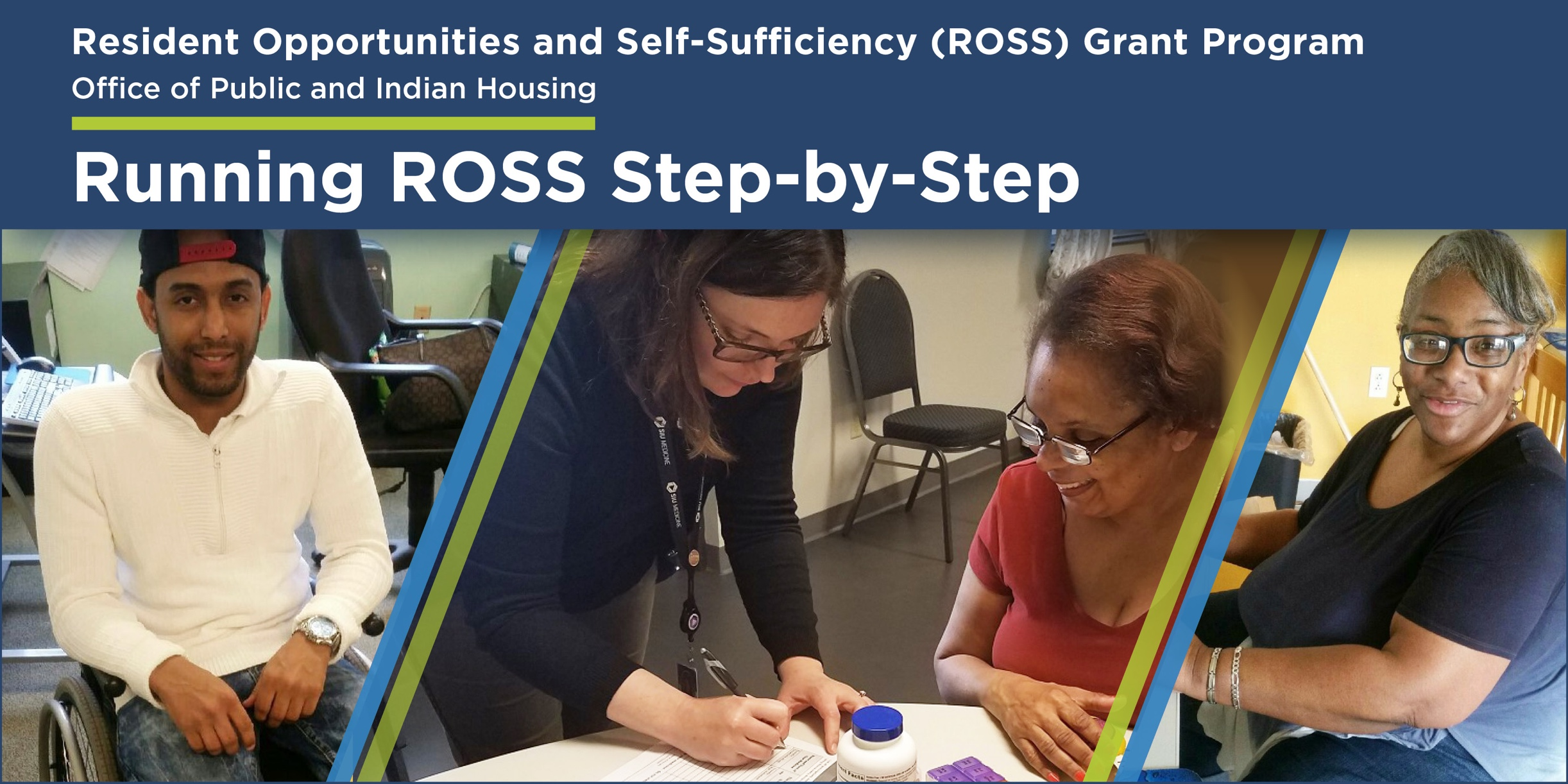 Resident Opportunities and Self Sufficiency (ROSS) Grant Program Office of Public and Indian Housing ROSS Online Guided Learning Resource - Images of residents and service coorindators