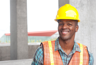 African American man in hardhat